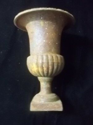 "Antique 10 1/4"" Cast Iron Metal Rustic Primitive Urn Flower Garden Pot Vase"