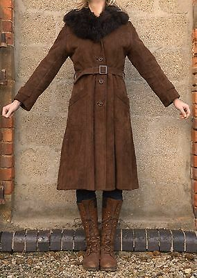 Vintage 1970s Richard Draper Super Warm Sheepskin Lined Coat S M