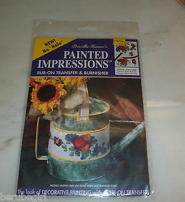 Vintage Priscilla Hauser's Painted Impressions Rub-On Transfer Fruit, Focal, NEW