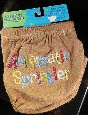 """Making Miracles by Nojo Diaper Cover """"Automatic Sprinkler"""" Brown 0-6/6-12 Months"""