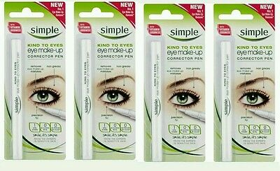 4 x SIMPLE EYE MAKE UP CORRECTOR PEN KIND TO EYES 100% AUTHENTIC