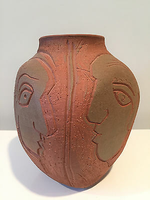 Charles Counts Studio Pottery Sgraffito Vase Entitled Think - Signed & Dated