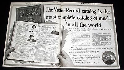 1915 Old Magazine Print Ad, Victor Victrola, The Most Complete Record Catalog!