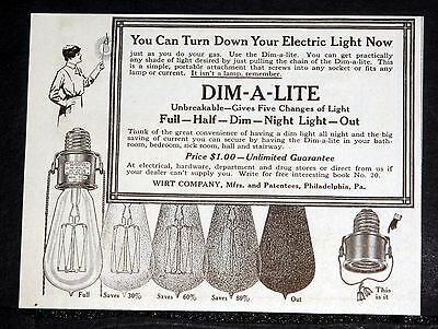 1915 Old Magazine Print Ad, Dim-A-Lite, You Can Turn Down Your Electric Light!
