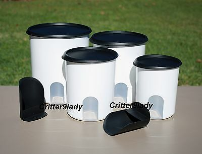 NEW Tupperware Classic One Touch Reminder Canister Set Black Seals plus Scoops