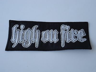 High On Fire White Logo Embroidered Patch