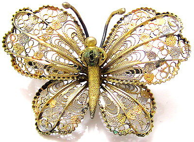 Beautiful 2 Tone Vintage Solid Silver Lacey Filigree Butterfly Brooch Pin*E378