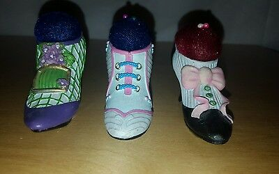 LOT OF 3 VINTAGE MINIATURE CERAMIC AND PORCELAIN  SHOES Pin Cushions