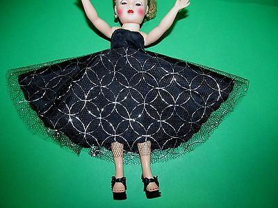 RARE 1950s Miss Coty Black and Silver Gown Minty!  GOWN ONLY..NO DOLL!