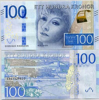 Sweden 100 Kronor 2016 P New Design Greta Garbo Unc