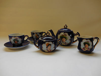 Royal Blue Medallion Germany Hand Painted Childs Small Tea Set for 2