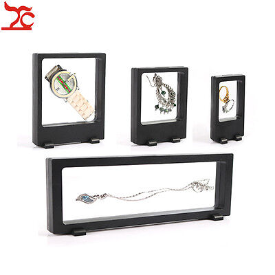 4pcs Black Elastic Membrane Jewelry Box Floating 3D Display Frame Stand Holder