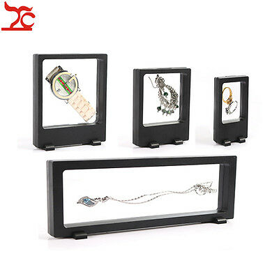 4pcs Black PET Jewelry Display Earring Bracelet Necklace Ring Stand Window Case