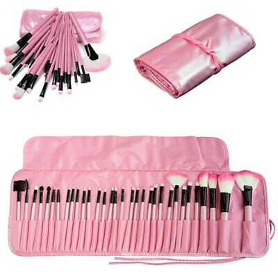 Pink 32pcs Professional Kabuki Make Up Brush Set and Cosmetic Brushes With Case