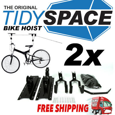 2x STORAGE HOIST PULLEY SYSTEM FOR BIKES & SURFBOARDS MOUNTS FROM CEILING