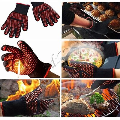 Silicone BBQ Gloves Kitchen Oven Mitts Non Stick Pot Heat Proof Resistant 932°F