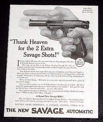 1914 Old Magazine Print Ad, Savage .32 Pistol, Thank Heaven For 2 Extra Shots!