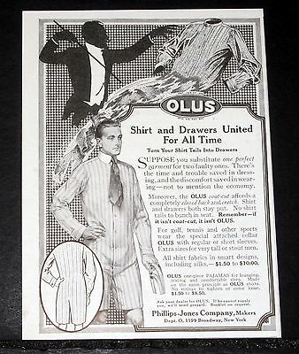 1914 Old Magazine Print Ad, Olus Shirt And Drawers United For All Time, Perfect!