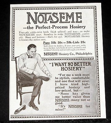 1914 Old Magazine Print Ad, Notaseme, The Perfect-Process Hosiery, Pure Silk!