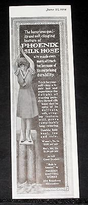 1914 Old Magazine Print Ad, Phoenix Silk Hose, Soft Clinging Texture, Luxurious!