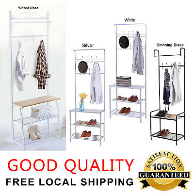 Metal Hat Coat Stand Clothes Shoes Stands Steel Pipe Rack Hanger Hooks Shelf