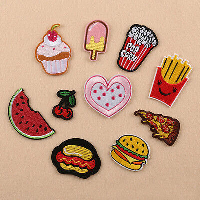 10pc Embroidered Sew Iron on Patch Badge Dessert Pizza Motif Bag Fabric Applique