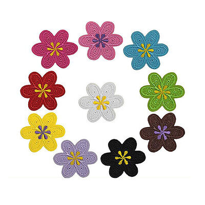 5pcs Embroidered Sew Iron on Patch Badge Flower Shape Bag Cloth Applique DIY