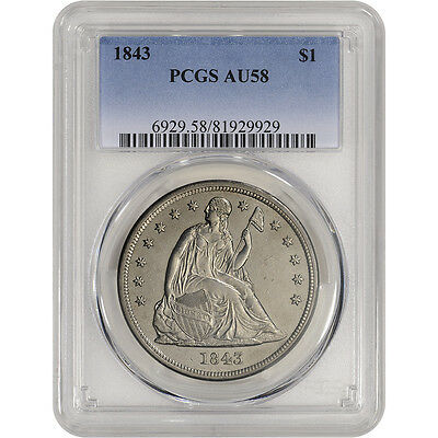 1843 US Seated Liberty Silver Dollar $1 - PCGS AU58 - Attractive PQ