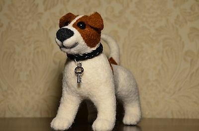 Jack Russell puppy Natural needle felted toys Miniature animals