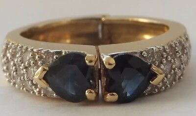 Vintage 18ct Gold Sapphire & Diamond Ring  Opens Up For Arthritis Fingers