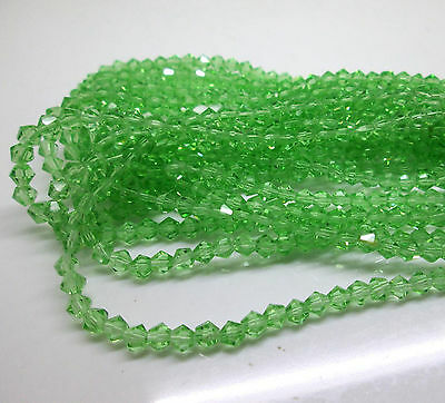 200pcs 4mm 5301# Bicone Faceted Glass Crystal Loose Spacer Beads Apple Green