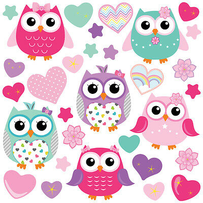 Children's Cute Pink Owl Wall Stickers ColourfulOwls Owls.3.L