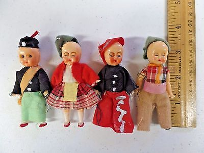 "Vintage Set of 4 Plastic String Jointed Ethnic Dolls 3"" Made in Hong Kong"