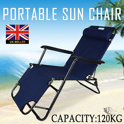 Folding Gravity Sun Lounger Deck Chair Recliner Garden Bed Reclining Headrest #1