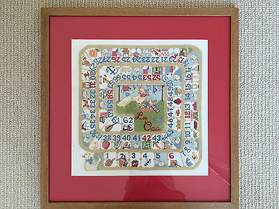 Completed Cross Stitch Framed Picture La Oca Board Game Nursery