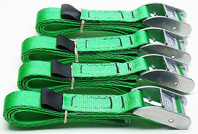 4-pack of 1.0m TOUGH Cam Straps Green - Small Tie-down Cargo Lashings