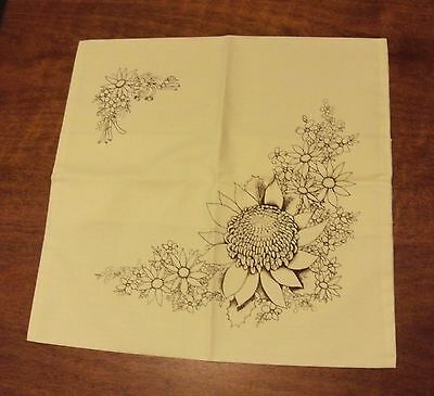 Un-worked vintage Hobbytex 5697 wildflower cushion cover square lemon 43x43 17""
