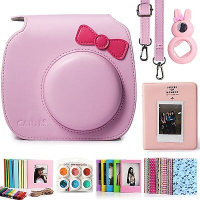 Fuji Instax Mini 8 Instant Color Film Camera Accessories Bundle Set Kitty Pink
