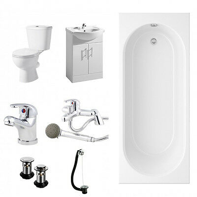 Simple Complete Shower Bath Bathroom Suite with Vanity Unit