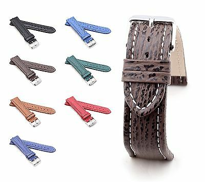 "BOB Shark Leather Watch Band, Model ""Basic"", 18-24 mm, 7 colors, new!"