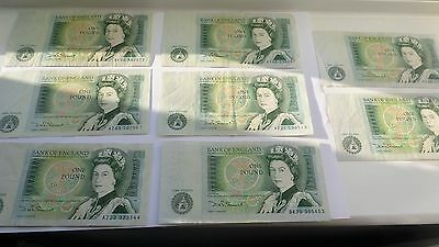 Old £1 Notes Great Britain Bank England £1x8 Used DHF Somerset