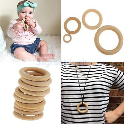 10pcs Natural Wooden Baby Teething Rings Round Beads Loops Jewelry Making Craft