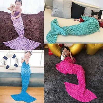 Mermaid Tail Handmade Blanket Knit Crocheted Cocoon Sofa Quilt Rug Fish Scale UK
