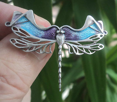 Scottish Silver & Enamel Art Nouveau Dragonfly Brooch - Pat Cheney / Ortak