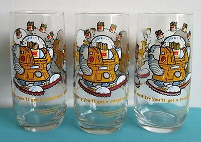 3x Vintage 1979 Burger King Glasses Wizard of Fries Collectors Series Promotion