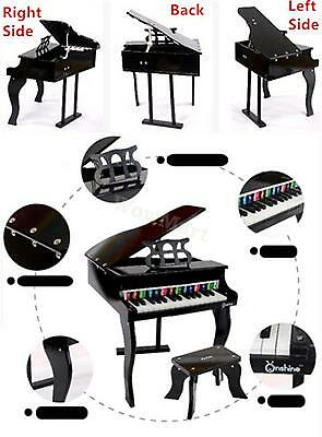 Kid Wooden Pretend Toy Grand Style Toy Mini 30 Key Piano & Stool #0293N Black
