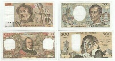 Set Of 4 Classic French Banknotes.