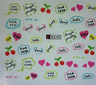 Valentines Nail Art Water Decals Stickers Love Hearts CHERRY Gel Polish (A545)