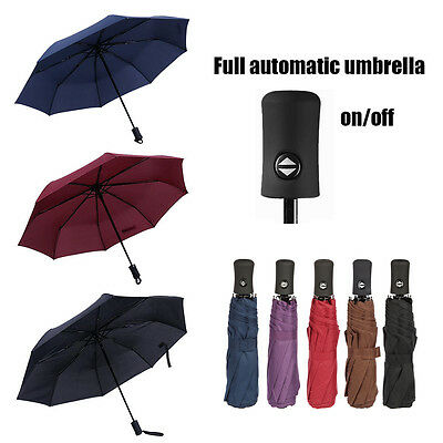 Full Automatic Umbrella Anti-UV Sun/Rain Windproof 3 Folding Compact Umbrella US
