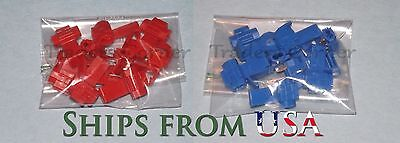 20PCs Red/Blue Quick Lock/Snap On Splice Crimp Wire Electrical Cable Connector
